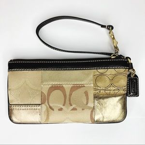 COACH gold and leather suede patchwork wristlet